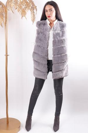 Faux Fur Gilet Grey