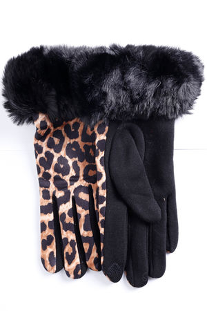 Faux Fur Leopard Gloves