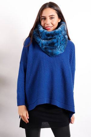 Faux Fur Snood Cobalt Snake