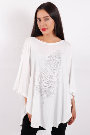 Feather Diamanté Stud Top White