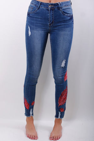 Feather Embroidered Raw Edge Jeans
