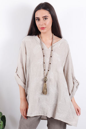 Feather Linen Top Mocha