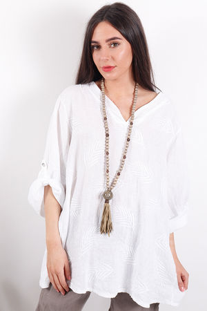 Feather Linen Top White