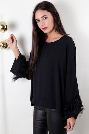 Feather Trim Box Blouse Black