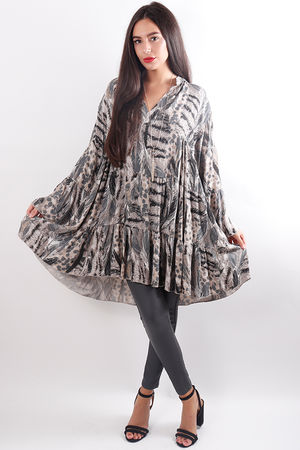 Feather Flare Tunic Taupe