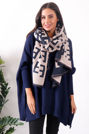 Fenwick Cashmere Scarf Navy and Nude