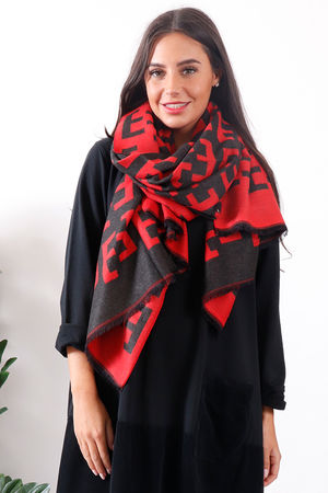 Fenwick Cashmere Scarf Red and Black