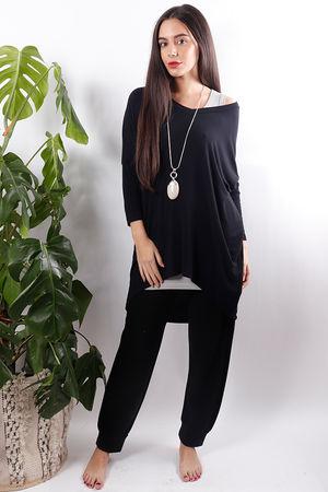Fhara V Neck Top Soft Black