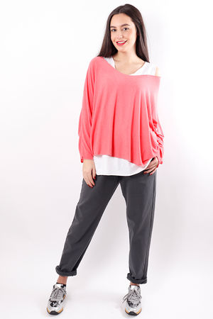 Fine Two Layer Knit Living Coral