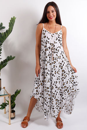 Fired Earth Handkerchief Dress White