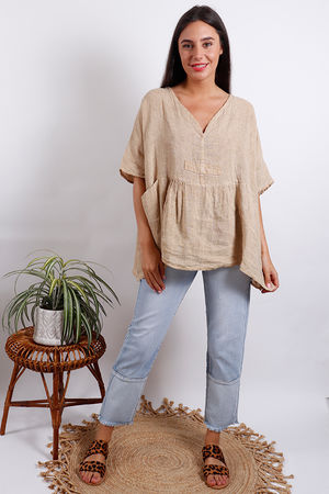 Fired Earth Smock Top Sand