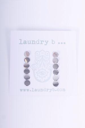Flat Disc Drop Earrings Silver