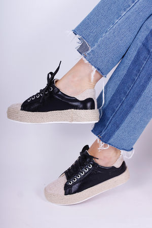 Flatform Lace Up Pumps Black
