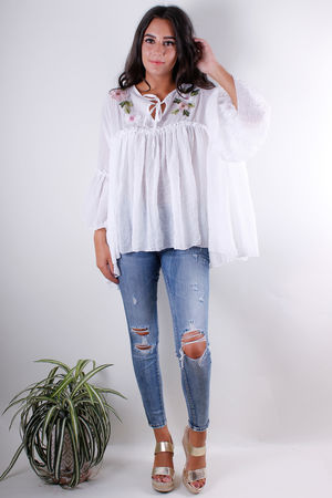 Floral Embroidered Peasant Blouse White