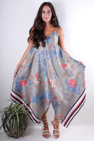 Floral Handkerchief Dress Khaki