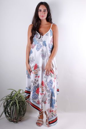 Floral Handkerchief Dress White