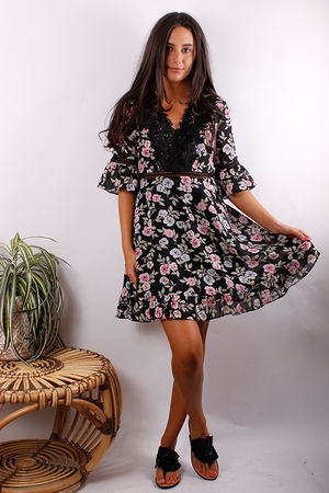 Floral Lace Frill Dress