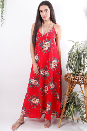 Floral Split Side Maxi Red