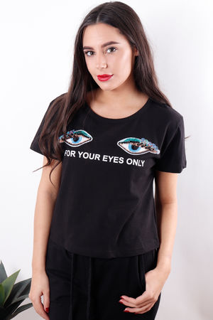 For Your Eyes Only Tee Black