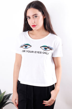 For Your Eyes Only Tee White