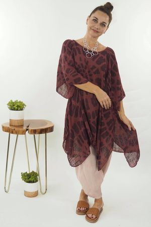 Fossil Oversized Dip Side Top Mulberry