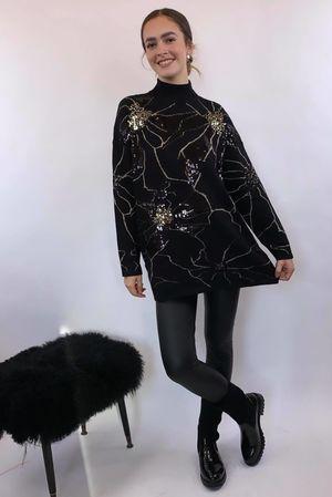 Fractals Floral Knit Black