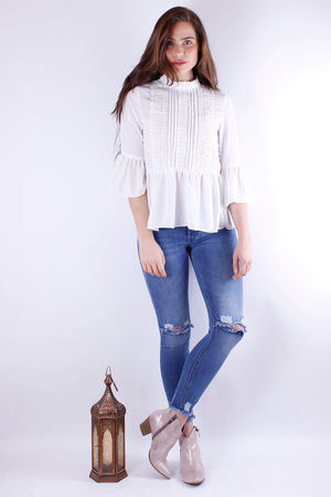 Frill Boho Blouse Cream