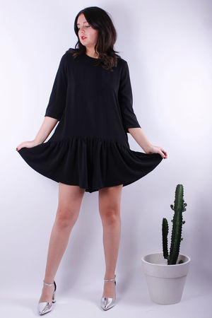 Frill Bottom Playsuit Black