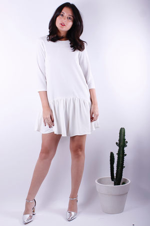 Frill Bottom Playsuit Cream