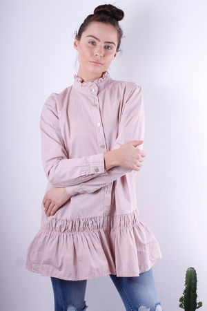 Frill Collar & Bottom Tunic Dusky Pink