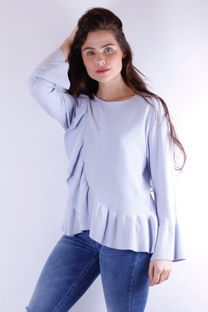 Frill Detail Knit Powder Blue