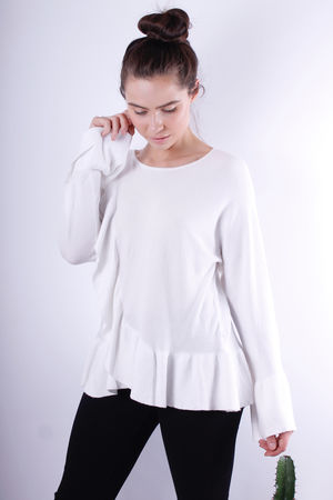 Frill Detail Knit White