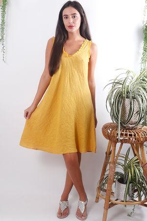 Frill Linen Dress Mustard