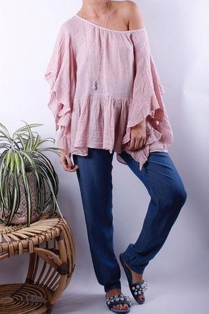 Frill Sleeve Linen Top Blush