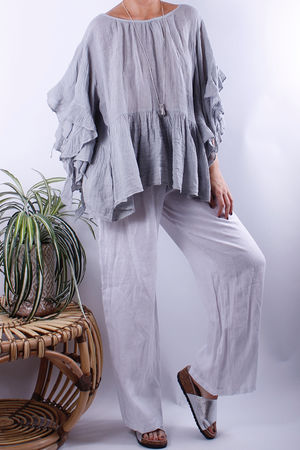 Frill Sleeve Linen Top Dove
