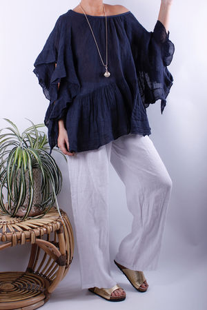 Frill Sleeve Linen Top Navy
