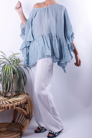 Frill Sleeve Linen Top Powder Blue