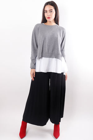 Frill Two Layer Knit Grey