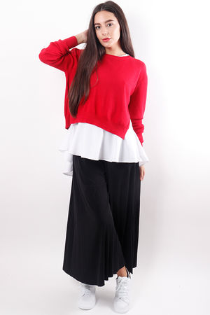 Frill Two Layer Knit Red