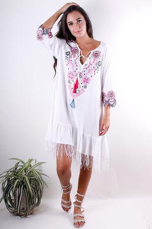 Fringe Embroidery Dress Cream