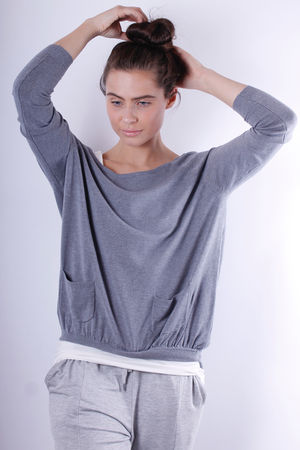 Gather Pocket Knit Grey