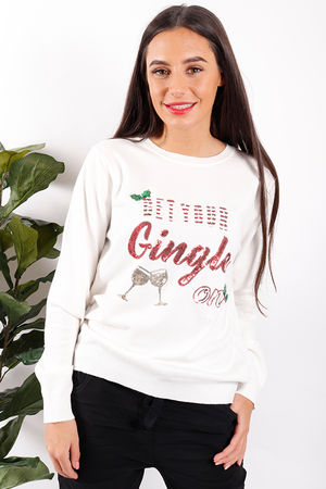 Get Your Gingle On Christmas Jumper White