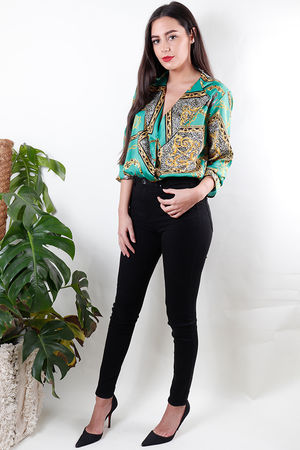 Giani Cross Front Body Blouse Jade