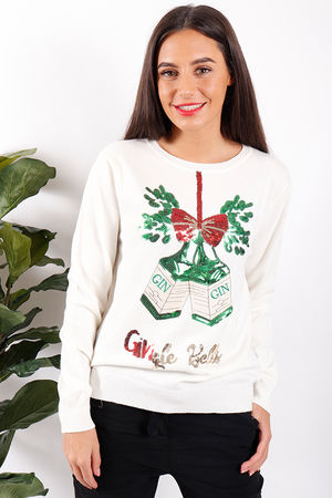 Gingle Bell Christmas Jumper White
