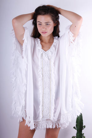 Goa Tassel Edge Cotton Kaftan Top White