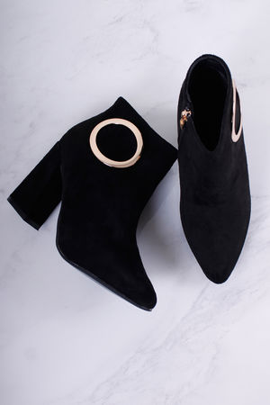 Gold Eyelet Detail Boots Black