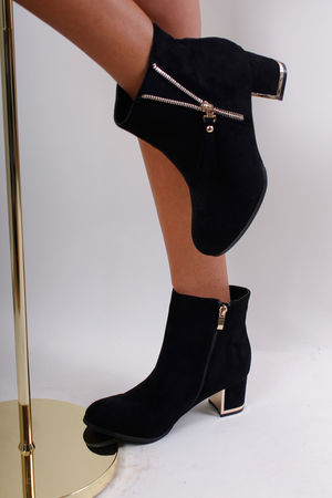 Gold Zip Detail Boots Black