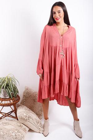 Gypsy Soul Cheesecloth Lurex Dress Pink Clay