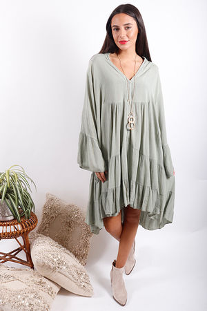 Gypsy Soul Cheesecloth Lurex Dress Washed Olive