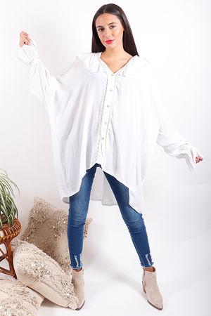 Gypsy Soul Oversized Ruffle Blouse White